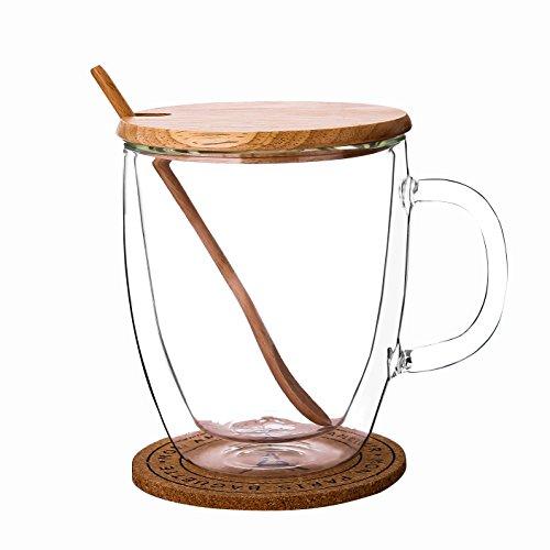 WOOD MEETS COLOR Handmade Double Wall Glass Tea Coffee Mug with Bamboo cover Wood Tea Spoon Wood Coaster 16oz  475ml