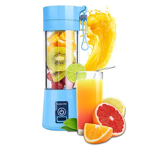 USB Portable Juicer Cup Blender Household Juicer fruit shake Mixer with 6PCS Blades in 3D 380ml cooking machine with USB Charger Cable blue