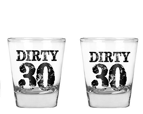 AW Fashions Dirty 30 Shot Glass - 30th Birthday Gift Set- 2 Pack Round Set of Shot Glass