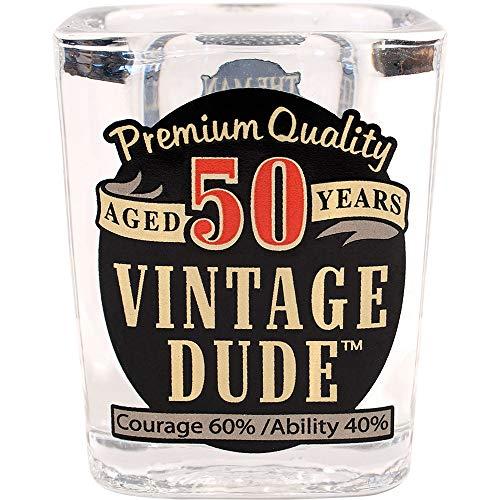Pack of 6 Transparent50 Vintage Dude Printed Shot Drinking Glass 25