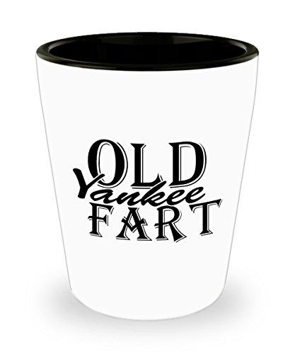 Shot Glass Old Yankee Fart Funny Collectible 15 oz Custom Printed Ceramic Shot Glass Gag Gift