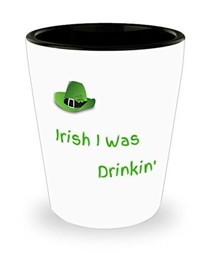 St patricks Funny Shot Glass St Patricks Day Irish I Was Drinkin Ceramic Custom Printed Shot Glass Irish Whiskey Collectible Novelty Funny Party Gag Gift Men Women