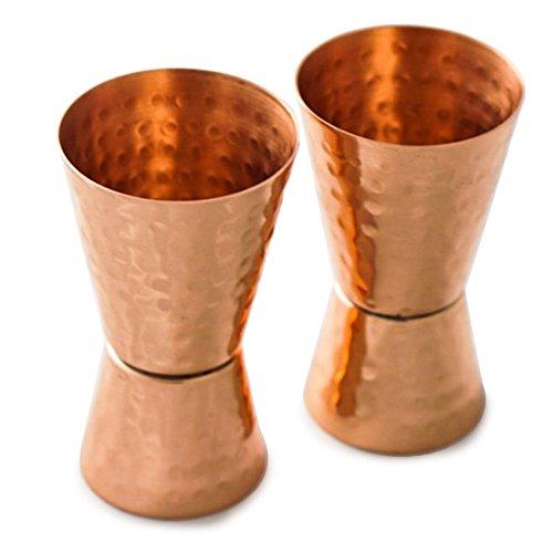 Drinkware Essentials Double Jigger Bar Shot Glasses Set of 2 Solid Copper Hammered Bartender Tools 1oz2oz