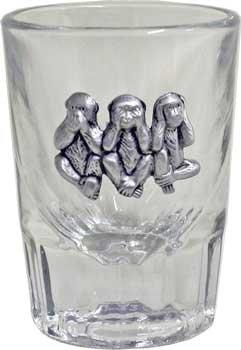 Libbey 2oz Three Wise Monkeys Fluted Bar Shot Glass