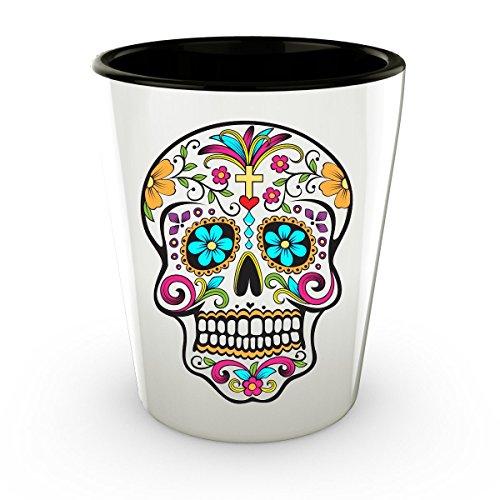 Day of the Dead Shot Glasses - Sugar Skull Shot Glass - Mexican Folk Art - Dia De Los Muertos - Cute Shot Glasses - Novelty Shotglass - 15 oz 1