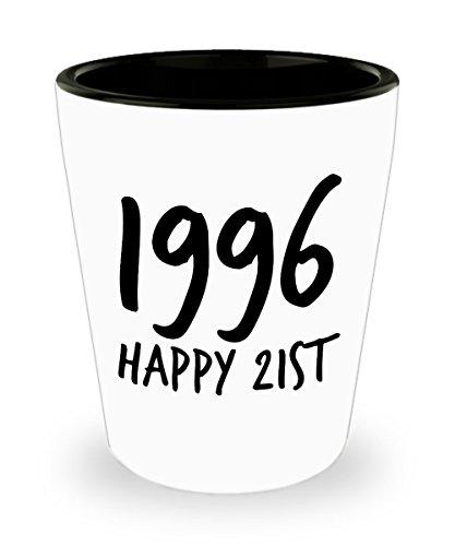 Happy 21 Shot Glass - 1996 Birthday - Novelty Shot Glasses - Funny Shot Glass - 15 Ounce Shot Glass - Shot Glasses For Women and For Men - Hilarious