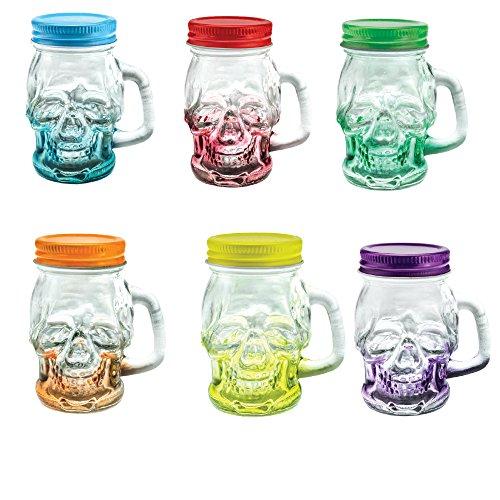 Shot Glasses sugar skull Set of 6 Mason Jar with Lid and Handle - Novelty Shot Glass 3 oz