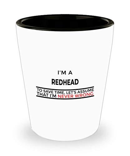 Best Redhead Shot Glass - Funny Red HairGinger Gifts In Bulk - Redhead Shotglasses For Men Women - Perfect Hobbyist Drinking Gift