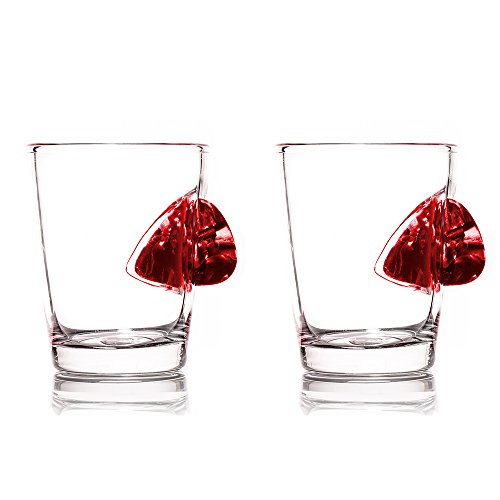 The Original Shot Glass Embedded with a Real Guitar Pick - Red - Set of 2