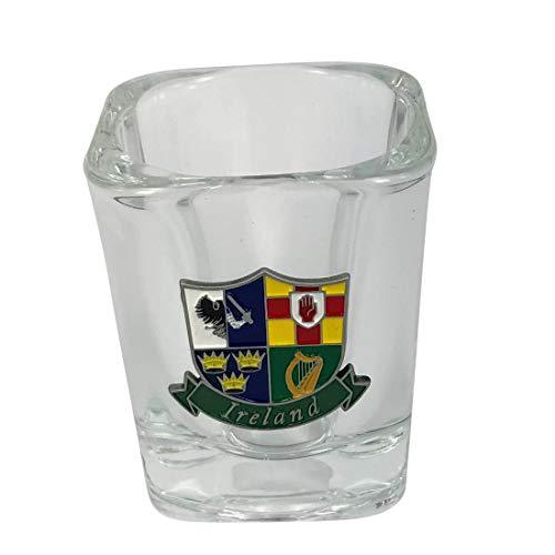 Irish Shot Glass With 4 ProvenceS Of Ireland Designed Metal Badge