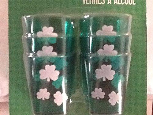 Package of 6 Plastic Shamrock Shot Glasses Irish Shot Glasses