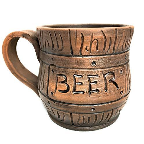 Handmade Beer Mug Ceramic Carved Natural Beer Stein Old-Fashioned Brown Tankard Clay beer tankard - 03L 10oz Classic Brown Ceramic Mug Beer Mug