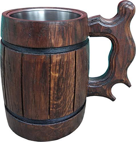 Handmade Beer Mug Made of Wood Tankard Wooden Stein Beer Tankard Stein Crafted Beer Mug Cup Capacity 2028oz 600ml