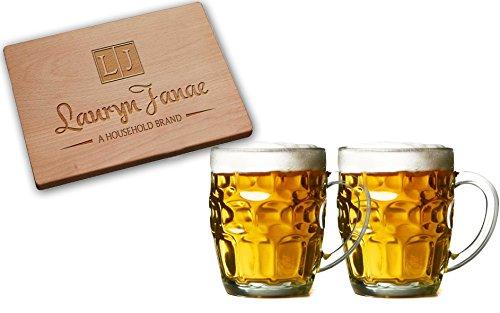 Lauryn Janae Premium Glassware 21oz Jumbo Size Dimple Brewmasters Homebrewers Beer Lovers Glass Beer Stein Beer mug Tankard or TeaCoffee Barware Drinkware Mugs Set of 2
