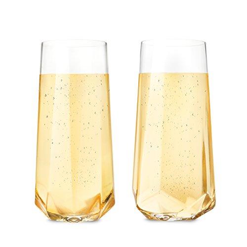 Seneca Faceted Crystal Stemless Champagne Flutes by Viski Set of 2 Rosé Prosecco glasses