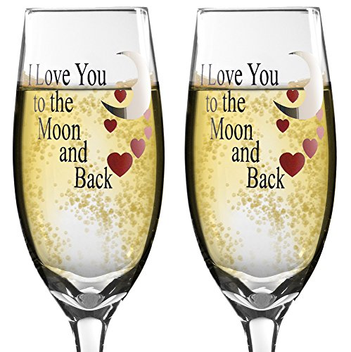 Valentines Day Glasses - Set of 2 Champagne Glasses with I Love You to the Moon and Back - Hand Wash