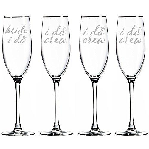 Bride I Do and I Do Crew Champagne Toasting Flute Glasses Set of 4