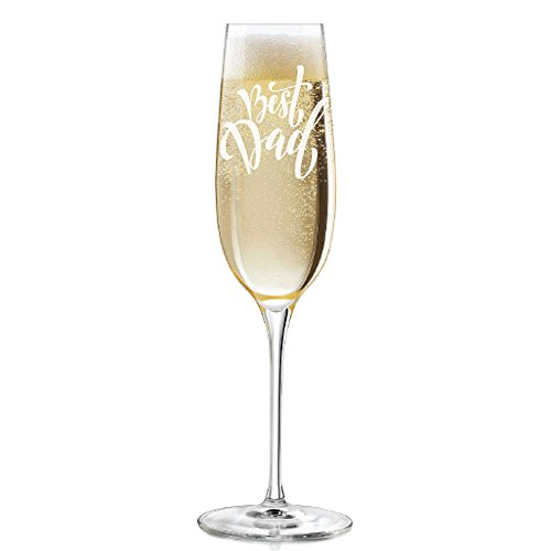 Best Dad Script Engraved 8 oz Champagne Flute - 2pcs set