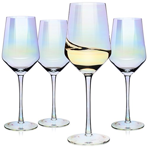 Wine Glasses Large Red Wine or White Wine Glass Set of 4 – Unique Gift for Women Men Wedding Anniversary Christmas Birthday - 17oz 100 Lead Free Crystal