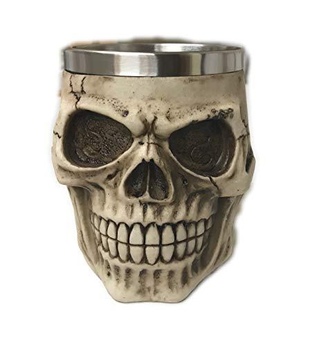 Spookville Deluxe Large Halloween Skeleton Skull Metal Beer and Cocktail Halloween Mug - 14 oz Bone Color