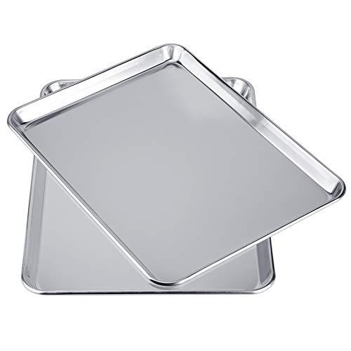 Love-homemaster Heavy Duty Pure Aluminum Half Sheet Pan Set Cookie Baking Sheet Pan Set 18 x 13 x 1 2 Pack