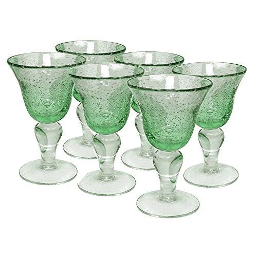 Artland Iris Seeded Light Green 8 Ounce Wine Glass Set of 6