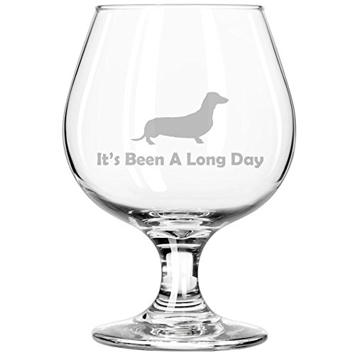 Whiskey Bourbon Belgian Tulip Beer Goblet Brandy Snifter Glass Funny Its Been A Long Day Dachshund