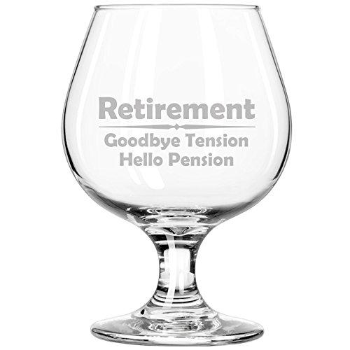 Whiskey Bourbon Belgian Tulip Beer Goblet Brandy Snifter Glass Funny Retirement Goodbye Tension Hello Pension