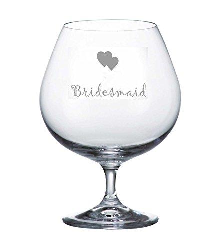Bohemia Crystal Brandy Glass With Bridesmaid Hearts Design