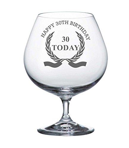Bohemia Crystal Brandy Glass With Happy 30th Birthday Wreath Design