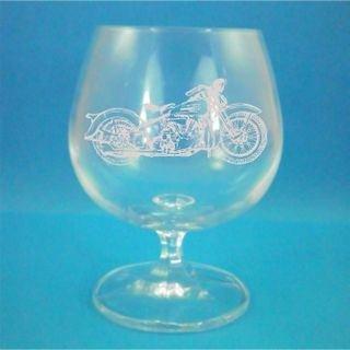 Bohemia Crystal Brandy Glass With Harley Davidson Design with gift box