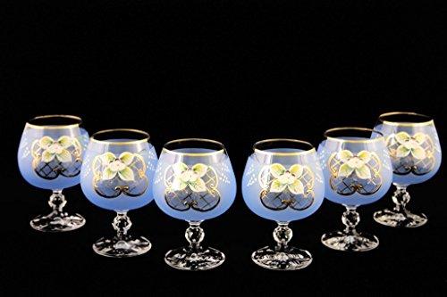 Crystalex 6pc Bohemia Colored Crystal Vintage Enamel Blue Cognac or Brandy Glasses Set 24K Gold-Plated Hand Made