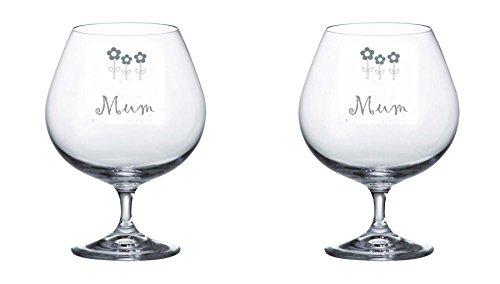 Pair of Bohemia Crystal Brandy Glasses With Mum Flowers Design