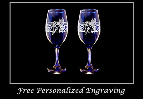 Celtic Fairy Cobalt Blue 12 oz Wine Glass Set of Two
