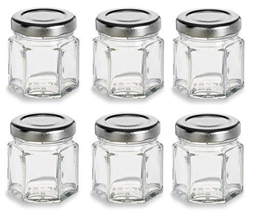 Nakpunar 6 pcs  15 oz Mini Hexagon Glass Jars with Silver Lids