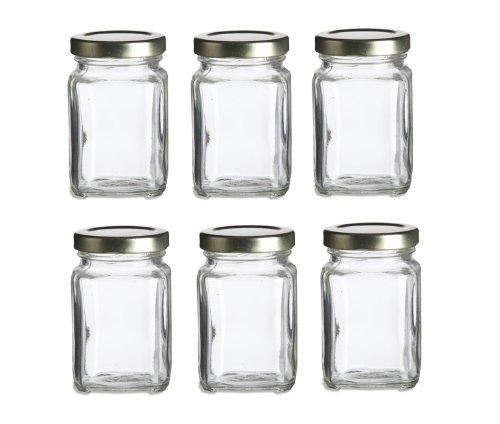 Nakpunar 6 pcs 375 oz Mini Square Glass Jars for Jam Honey Wedding Favors Shower Favors Baby Foods DIY Magnetic Spice Jars