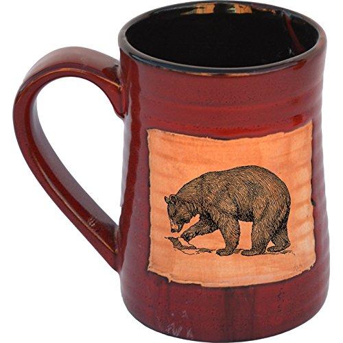 Fishing Bear 17 Oz Small Tankard in Real Red glaze