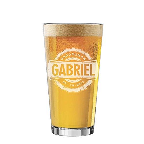 Custom Personalized Pint Pilsner Beer Glasses - Engraved Groomsmen Beer Mug Glass Gifts - 16 oz