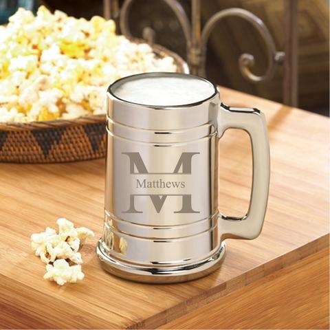 Monogrammed Gunmetal Beer Mug - Personalized Beer Mug - Groomsmen Beer Mug - Stamped