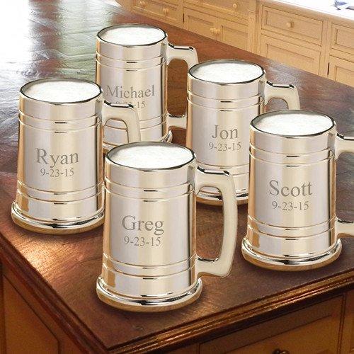 Personalized Gunmetal Beer Mug - Monogrammed Beer Mugs - Engraved Groomsmen Beer Mugs - Set of 5