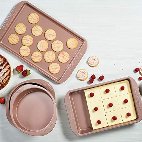 Farberware 47777 Nonstick Bakeware Set with Nonstick Baking Pan Cake Pans and Cookie Sheet  Baking Sheet - 4 Piece Rose Gold Red