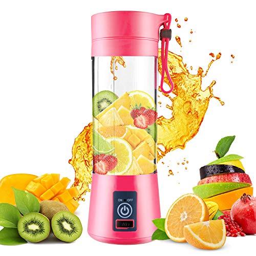 DOTSOG Portable BlenderHousehold Juicer Cup 380ml Fruit Mixer Bottle with Stainless Steel 6-Blades in 3D2000mAh USB Rechargeable BatteriesDetachable CupBaby Cooking Mixing Fruit JuiceVegetable JuiceMilkshakeIce DrinkPink