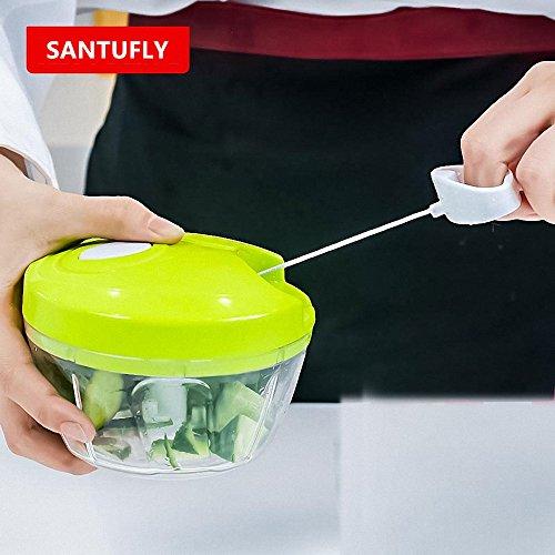 SANTUFLY Manual Food Chopper Compact Powerful Hand Held Vegetable ChopperMincerBlender to Chop FruitsVegetablesNutsHerbsOnionsGarlics for SalsaSaladPestoColeslawPuree