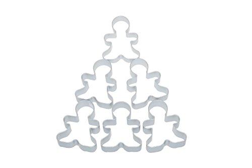 Bilipala 6 Pieces Metal Gingerbread Man Cookie Cutter Christmas Lebkuchen Cookie Molds