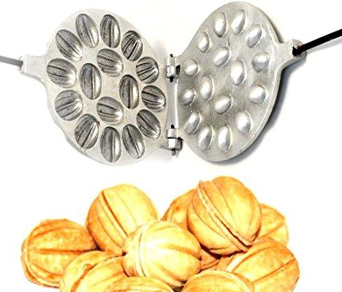 OVP Gold store Walnut Cookie Mold Oreshek Maker 16 nut Oreshki Rissian Soviet Cookies Pastry Oreshnitsa Орешница