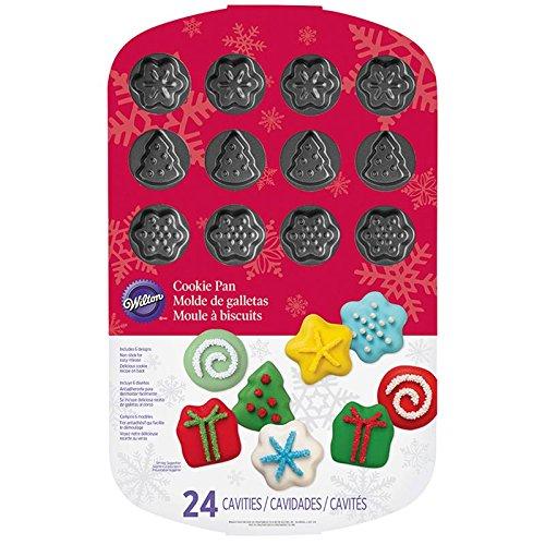 Wilton 2105-6932 Holiday Cookie Mold Pan 24-Cavity