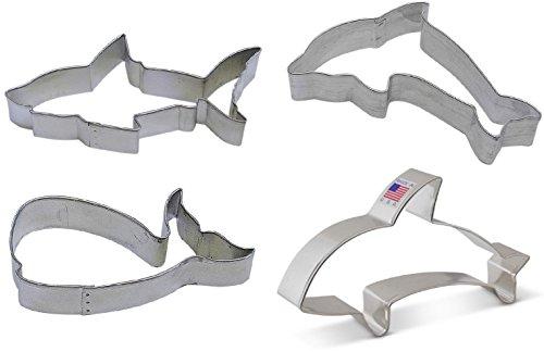 4 Piece Ocean Shark Dolphin Whale Orca Killer Whale Cookie Cutter Set