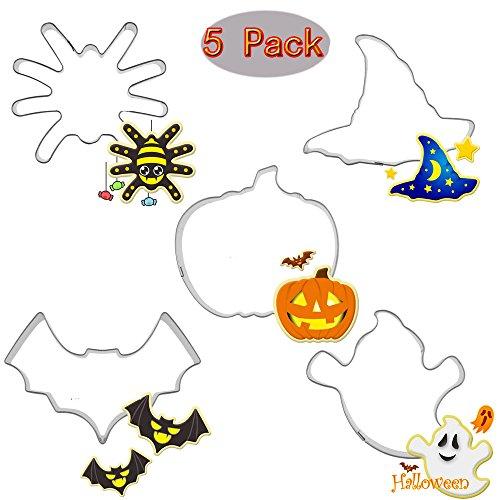 (Set of 5)Halloween Trick or Treat Cookie Cutter SetPumpkinghostBatspider and Wizard Hat