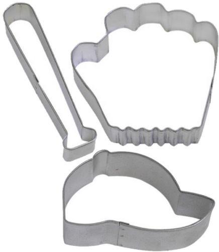 3 Piece Baseball Cap Hat Glove Bat Cookie Cutter Set NEW