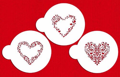 Designer Stencils C202 Swirl Valentine Heart Cookie Stencils BeigeSemi-Transparent